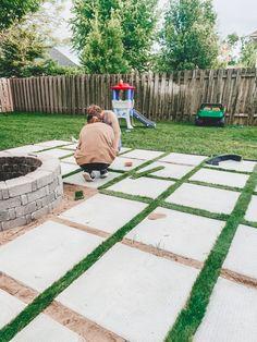 Grass Pavers, Outdoor Pavers, No Grass Backyard, Fire Pit Backyard, Backyard Landscaping, Pavers Patio, Backyard Pergola, Walkway, Paver Fire Pit