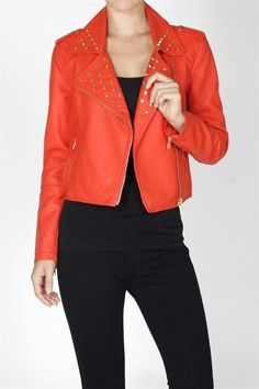 Studded Vegan Leather Biker Jacket (6 HOT FALL COLORS) $36.75 Free Shipping!
