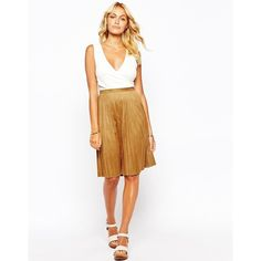 Fashion Union Faux Suede Pleat Midi Skirt (140 SEK) ❤ liked on Polyvore featuring skirts, tan, faux suede midi skirt, pleated midi skirt, white skirt, white pleated skirt and knee length pleated skirt