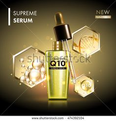 Coenzyme Q10 serum essence golden drops with dropper. Skin care collagen hyaluronic moisture formula treatment with honeycomb design elements. Anti age DNA helix protection and lifting solution