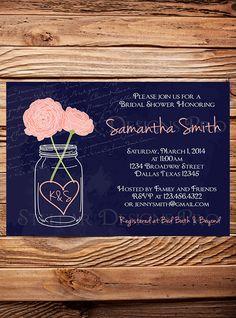 Bridal Shower Invitation, Mason Jar Peonies, Garden Flowers Mason Jar, Navy, Mason Jar, Pink, Coral, Purple, Mason Jar Wedding Shower W on Etsy, $21.00