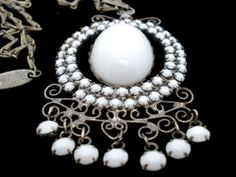 "Whiting Davis White Rhinestone Necklace Milk Glass Vintage Lavalier Signed 25"""