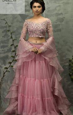 Beautiful Lehenga-Choli with superb embellishments. Party Wear Indian Dresses, Indian Wedding Gowns, Designer Party Wear Dresses, Indian Fashion Dresses, Indian Bridal Outfits, Indian Gowns Dresses, Party Wear Lehenga, Dress Indian Style, Indian Designer Outfits