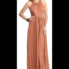 """Banana Republic Copper Paula Patio Maxi Dress NWOT. Never worn. Pockets and side slits.  100% Lyocell  machine washable. XS Waist 26"""" to 28"""". With adjustable tie. Length armpit to floor 53"""". Too long on me 5'7"""". Never got hemmed. Very comfortable. Banana Republic Dresses Maxi"""