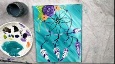 art painting Learn how to paint with Tracie Kiernan! This step by step acrylic painting tutorial will show you how to paint a dreamcatcher using simple painting techniques for beginners. Easy Canvas Art, Simple Canvas Paintings, Small Canvas Art, Easy Canvas Painting, Cute Paintings, Diy Painting, Painting & Drawing, Acrylic Canvas, Diy Canvas