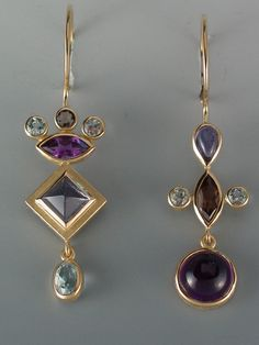 Janis Kerman | 18kt yellow gold, Smokey Quartz, Iolite, Amethyst, Blue Topaz & Aquamarine | Max's