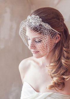 Art Deco Crystal Headband Bircage wedding veil