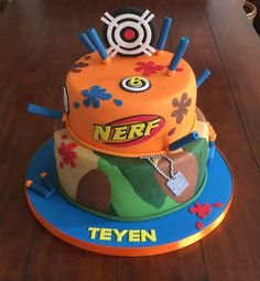 Eat the cake! Paintball Birthday, Nerf Birthday Party, Nerf Party, Birthday Ideas, 5th Birthday, Birthday Cakes, Camo Party, Nerf Gun Cake, Mario Bros Cake