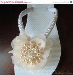 Ivory Flip Flops Seed beads spray Chiffon Flower by MyDreamWedding, $32.39