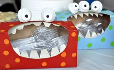 "plasticware holders - Monster birthday theme - too cute and lord knows I have enough tissue boxes after ""cedar fever"" season!"
