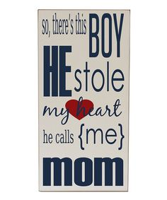 Take a look at this Cream & Navy 'He Stole My Heart' Wall Art by Vinyl Crafts on #zulily today!