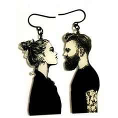 Romantic Couple in Love, Modern Black white Art Print, Boyfriend... (€24) ❤ liked on Polyvore featuring jewelry, earrings, xenastyle, black, black white earrings, charm earrings, earring jewelry, black and white earrings and white and black earrings