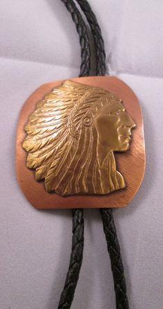 Western Bolo Tie Indian Head Design Copper Brass Vintage