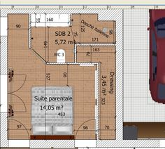 Suite parentale dans moins de 15m2 Master Bedroom Addition, Master Room, Student Room, In Law Suite, Architecture Plan, Ikea Hackers, Bed And Breakfast, Home Deco, Home Art