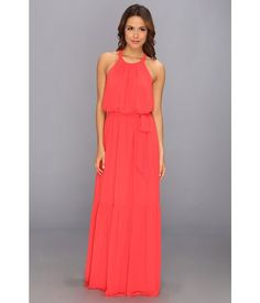Jessica Simpson Sleeveless Blouson Maxi Dress with CB Scallop Trim and Skirt Ruffle (Coral) Dress #ShopSimple