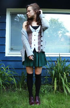 Fall fashion - skirt + thigh high socks + oxfords + sweaters + vests +thrift
