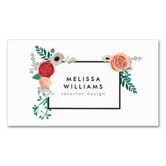 Vintage Modern Floral Motif on White Designer Business Cards. Make your own business card with this great design. All you need is to add your info to this template. Click the image to try it out!