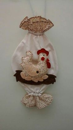 Fabric Toys, Fabric Crafts, Sewing Crafts, Sewing Projects, Grocery Bag Dispenser, Grocery Bag Holder, Chicken Pattern, Chicken Crafts, Plastic Bag Holders
