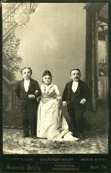 Primo and Ernesto Magri were born in Italy and moved to the U.S. were they became known as Count Rosebud and Baron Littlefinger. There they traveled with Millie and Christine McCoy, the Two-headed Nightingale. In 1885, two years after Tom Thumb's death, The Count married Lavinia Warren, Tom Thumb's widow. The three of them formed the Lilliputian Opera Company and traveled, performing in vaudeville companies. They had to work throughout their lives in order to maintain an extravagant…