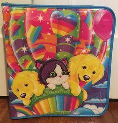 Lisa Frank 3 Ring Zip Around Binder Puppy's Kitten Hot Air Balloon Sparkle   eBay