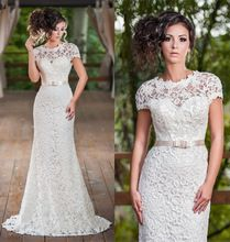 White brand dress mermaid vintage lace wedding dress with sleeves 2015 bridal gown dress wedding vestidos de casamento A27