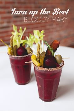 The addition of beet juice to this Bloody Mary recipe gives a lighter, earthy taste to this traditional New Years Day cocktail.