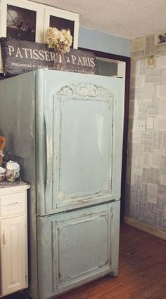 Old Fridge turned shabby French with Duck Egg Blue Chalk Paint® decorative paint by Annie Sloan and added appliques | By Trois Petites Filles by RioLeigh