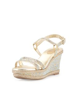 065b67aa45fb06 Rene Caovilla Crystal Wedge Espadrille Sandal