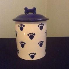 Petrageous Design Blue White Ceramic Paw Print Design Treat Jar Cannister Pet #PetRageousDesigns