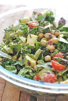 Wild rice, kale, avocado, chick peas, zucchini, cherry tomato salad with a sriracha/tahini dressing!
