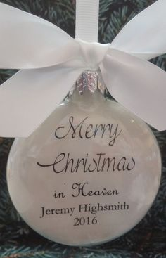 Loved One Memorial Merry Christmas in Heaven Feather Filled Glass Ornament Loss of Spouse Husband Wife Memory of Mother Father Bereavement by ShopCreativeCanvas on Etsy Personalized Christmas Ornaments, Diy Christmas Ornaments, Christmas Projects, Christmas Ideas, Ornaments Ideas, Angel Ornaments, Christmas Quotes, Holiday Crafts, Holiday Ideas
