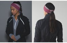 Run and Done Ear Warmer, Rulu fabric, for run, Set-My-Ponytail-Free™ window, 360° reflectivity. $26 ($19 on MD).  color:  space dye camo berry rumble multi/mini check pique bordeaux drama heathered berry rumble