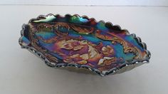 ANTIQUE Vintage Fenton Iridescent Carnival Oval Glass Candy Dish FLORAL