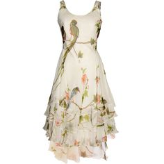 ALEXANDER McQUEEN 2007 Collection Bird printed Silk chiffon Gown(for wedding!) | Brand dress rental salon''SHIROTA''