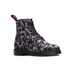 Dr. Martens Castel Adventure Print ($130) ❤ liked on Polyvore featuring shoes, boots, grey marceline, print shoes, grey shoes, patterned shoes, dr martens shoes and gray shoes