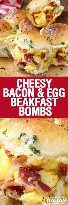 Brunch: Cheesy Bacon and Egg Breakfast Bombs are soft and tender portable poppers, stuffed with smoky bacon, scrambled eggs and ooey gooey cheese! This scrumptious recipe is the pull apart breakfast of your dreams! Breakfast Items, Breakfast Dishes, Morning Breakfast, Breakfast Casserole, Bacon And Egg Breakfast, Breakfast Recipes With Eggs, Fodmap Breakfast, Breakfast Healthy, Breakfast Mess Recipe