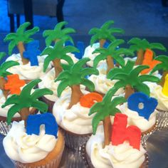 Chicka chicka boom boom birthday cupcakes.