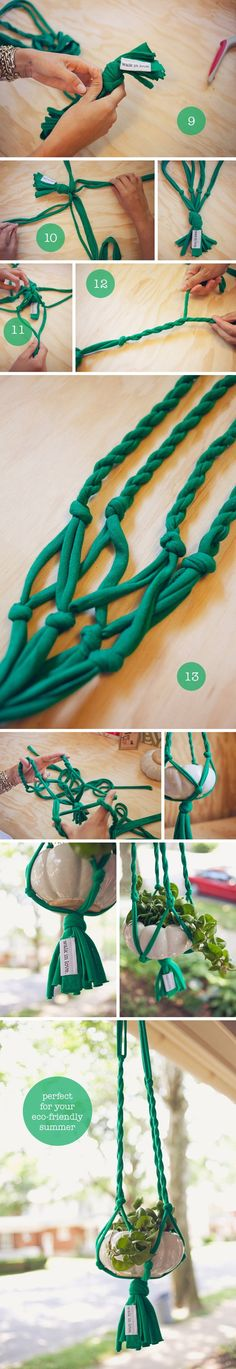 plant hangers made from tshirts (aka macrame with tshirts)