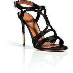 GIVENCHY Black Satin/Leather Sandals (3.525 HRK) found on Polyvore