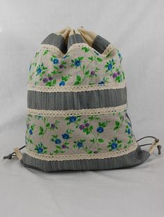 linen bag, country style, floral print, summer bag, cinch bag, workout bag, festival backpack, functional bag, floral pouch, holiday gift, cottage style, handmade backpack, bags with drawstring