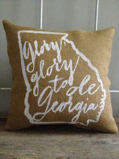 "Burlap Pillow - ""Glory, Glory to Ole Georgia"" - UGA Fight Song, State of Georgia, University of Georgia - Custom Made to Order"