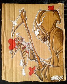 """""""Play with the death"""" Opoil 2015 Mixed medias on cardboard - 17,5 x 22cm"""