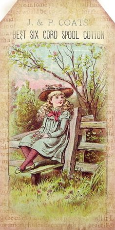 1880's illustration of girl in country setting, with typography for spool cotton