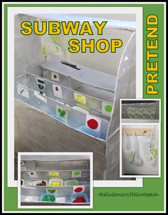 """Pretend"" Learning Center in Preschool: 'Subway' Restaurant from a box via RainbowsWithinReach"