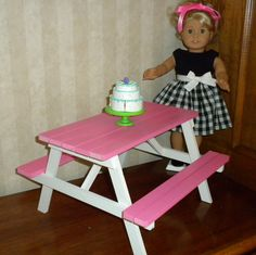 Pink Picnic Table For 18 In American Girl Doll