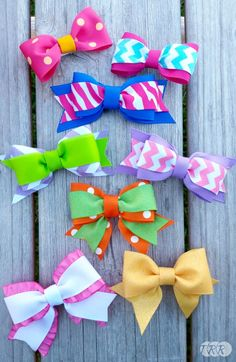 Layered Bow Tie Bows...with and without tails - The Ribbon Retreat Blog