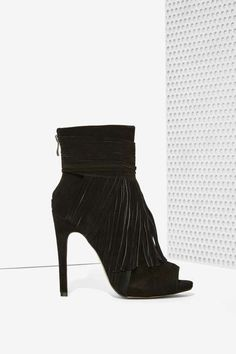 Kaili Fringe Suede Bootie - Black - Boots + Booties