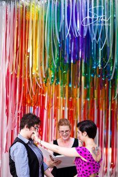 rainbow ribbon wedding