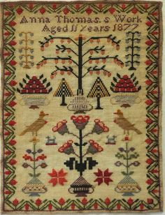 MID/LATE 19TH CENTURY MOTIF SAMPLER BY ANNA THOMAS AGED 11 - 1877