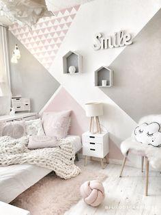 Image may contain: bedroom and indoor Cute Bedroom Ideas, Cute Room Decor, Room Ideas Bedroom, Teen Room Decor, Girls Bedroom, White Bedroom, Bedroom Decor, Bedroom Wall Designs, Cozy Room
